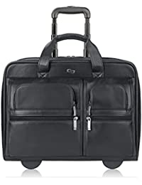 Franklin Premium Leather 15.6 Inch Rolling Laptop Case, Black