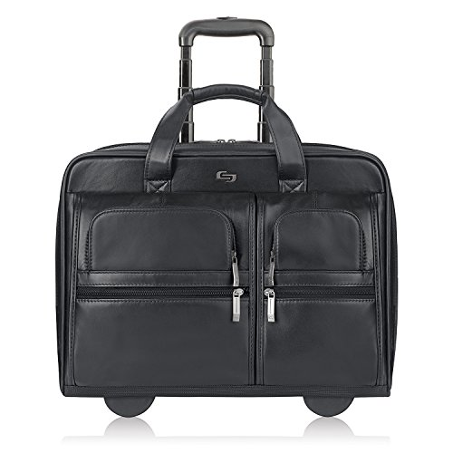 Solo New York Franklin Rolling Laptop Bag. Premium Leather Rolling Briefcase for Women and Men. Fits up to 15.6 inch laptop - Black ()