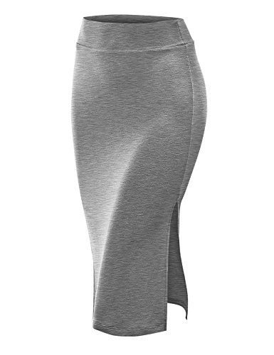 CTC WB937 Womens Double Side Slit Pencil Skirt S HEATHER_GREY