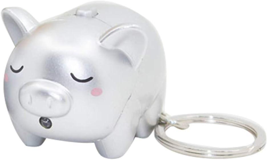 Cadeau pour Enfant Silver Porte-cl/és /à LED avec Son de Cochon FEIDAjdzf