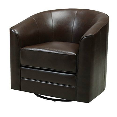 Emerald Home Milo Brown Accent Chair with Faux Leather Upholstery, Welt Trim, And Curved Back ()
