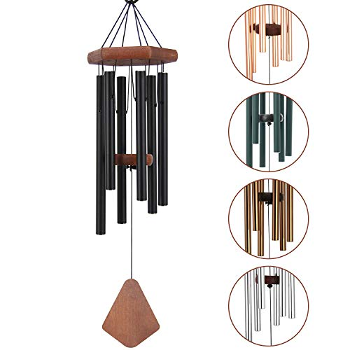 Medium Amazing Grace Wind Chime Outdoor, 28 Inches Sympathy Wind Chime with 6 Black-Colored Aluminum Hollow Tubes Tuned Soothing Musical Bell Sounds, Metal Wind Chimes for Home, Party, Garden Décor
