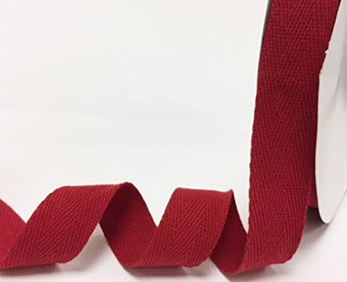 Bertie's Bows 25mm Cranberry Cotton Herringbone Tape/Webbing on a 4m Length (N.B. this is a cut from a roll, presented on a Bertie's Bows card) Bertie's Bows