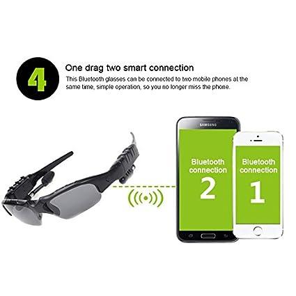 Occhiali da sole wireless, Hongtianyuan occhiali da sole Bluetooth Cuffie con auricolare vivavoce per iPhone 7/7 più dispositivi Samsung Bluetooth (Giallo)