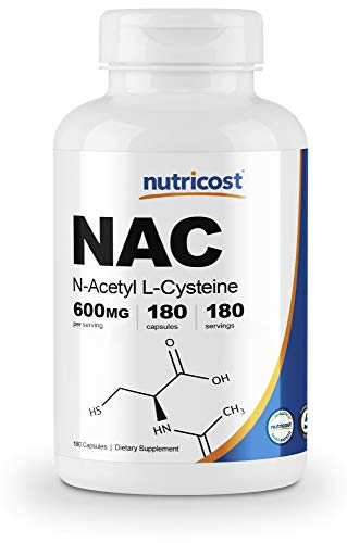 : Nutricost N-Acetyl L-Cysteine (NAC) 600mg, 180 Capsules - Veggie Caps, Non-GMO, Gluten Free