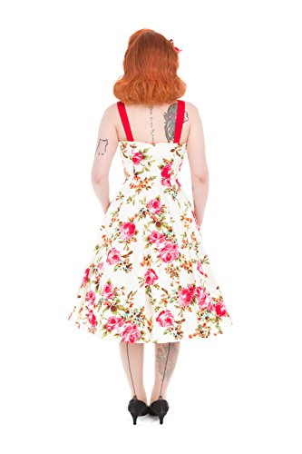 Rosen Cremé Pin amp; Jahre Rockabilly Kleid Roses 50er Träger Swing up Hearts Petticoat ZOYwa