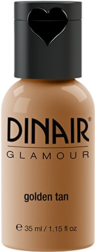 Dinair Airbrush Makeup Foundation | Golden Tan | GLAMOUR: Natural, Light coverage, Matte 1.15 oz.