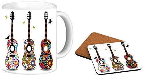 Rikki Knight Hippy 60's Flower Power Guitars Design Photo Quality 11 oz Ceramic Coffee Mug + Matching Square Cork Backed Coaster ()