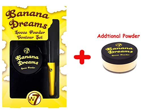 W7 Banana Dreams Loose Face Powder SET [Two Powders and One Brush]