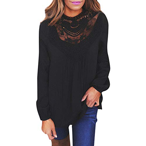 OrchidAmor Women Ladies Sexy Casual Lace O Neck T-Shirt Long Sleeve Tops Blouse Black -