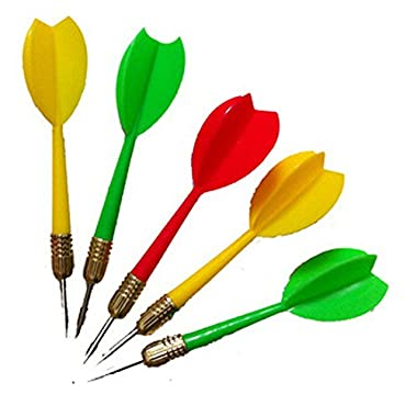 Jane's Mall 9pcs Solid Dart Steel Needle Tip Darts Steel Throwing Toy (Red Yellow Green)