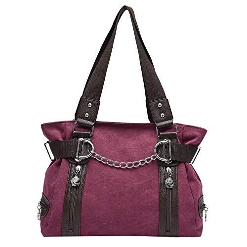 iFOMO Fashion Canvas Tote Bag Large Zipper Shoulder Shopper Bags for Women(Wine Red,13.78 x 5.12 x - Merlot Caramel Wine