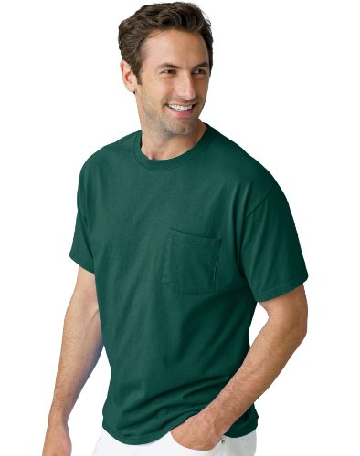 picture of Hanes Men's TAGLESS 6.1 Short Sleeve Tee with Pocket, S-Deep Forest