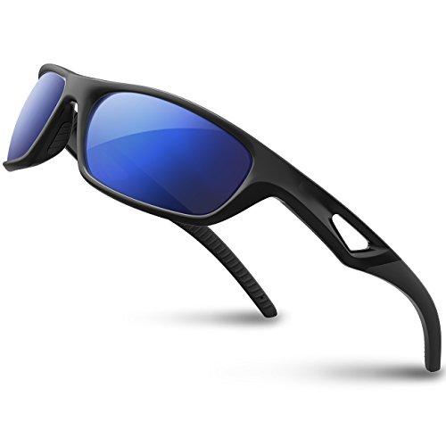 RIVBOS Polarized Sports Sunglasses Driving Glasses for Men Women Tr90 Unbreakable Frame for Cycling Baseball Running Rb831 (Black&Black Mirror Lens) (Sunglasses Polarized Driving)
