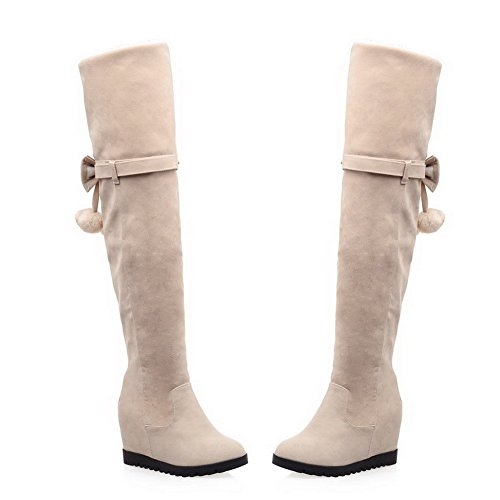 Women's Toe Zipper Round Frosted Closed Boots High Solid AgooLar Beige Heels RwC7qTOC