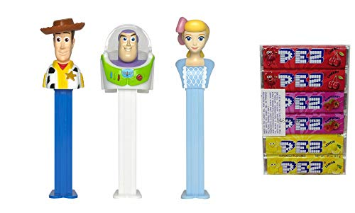 (Pez Candy Dispensers Toy Story 4: Buzz Lightyear, Woody, and Bo-Beep Pez Dispensers and Candy Refill Bundle (3 Dispensers and 6 PEZ Candy Refills))