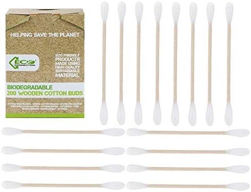 Eco Connection – 1000 bastoncillos de algodón biodegradables y ...