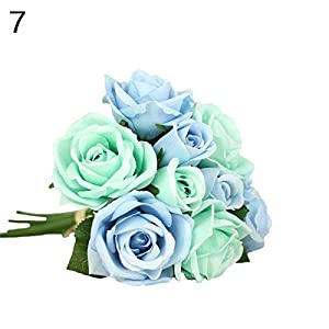 zbtrade 1 Bouquet 9 Heads Artificial Rose Wedding Party Bride Bouquet Home Garden Office Shop Decor #7 11
