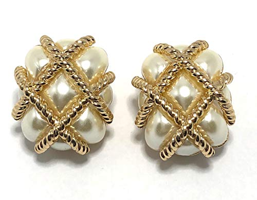(Kenneth Jay Lane, Gold Quilted Clip Earring, Choose: 7 Colors (Pearl))