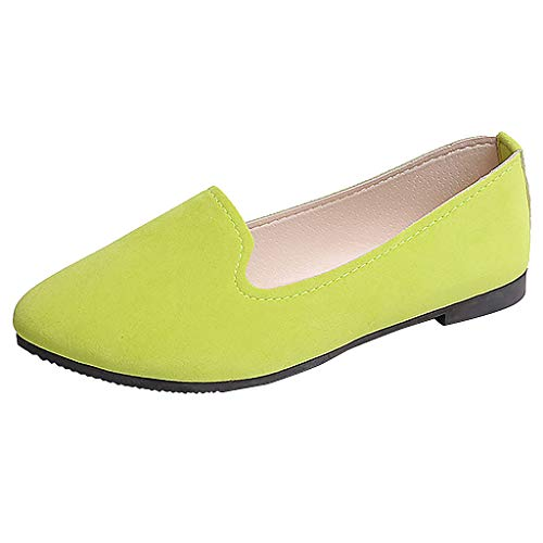 - ONLY TOP Women's Classic Flats Memory Foam Cushioned Soft Daily Slip-on Casual Sneaker Flat Shoes Light Green