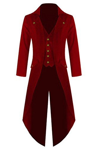 Ruanyu Men's Steampunk Vintage Tailcoat Jacket Gothic Victorian Frock Black Steampunk Coat Uniform Costume (Large, Red) - Red Mens Coat