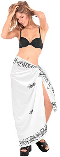 coprire rayon avvolgere nappe LEELA sarong 70x43inch conchiglie solido spiaggia g202 dolce Bianco LA 8wSEFn