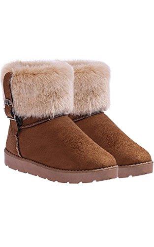 Eshion Donna Faux Suede Eco-pelliccia Caldo Inverno Neve Flat Stivaletti Pantofole Mule Cammello