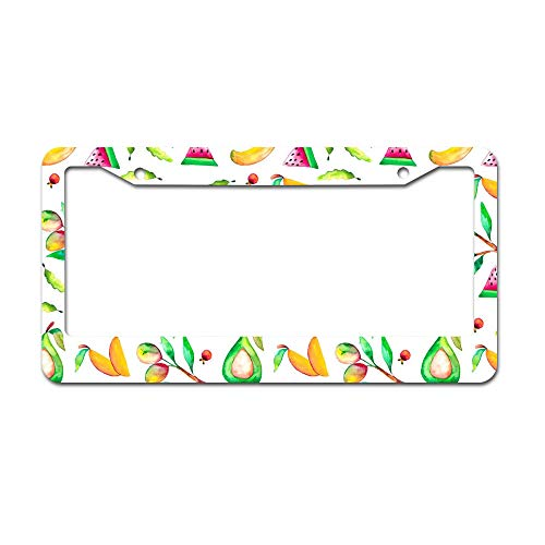DKISEE Abstract Watercolor Mango Village Pattern License Plate Frame Aluminum Car License Plate Covers with 2 Holes 12