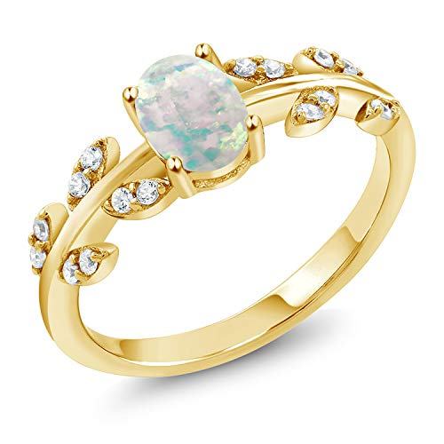 Yellow 18k Ring Gold Plated - 1.21 Ct Oval Cabochon White Simulated Opal 18K Yellow Gold Plated Silver Ring (Size 9)