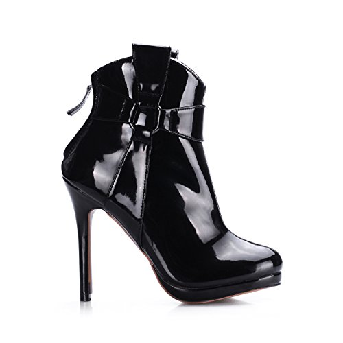 of Black varnished leather the nightclubs boot black boot Mid female the sense heel strap high shoes ladies the new reformer 7wPHcIq