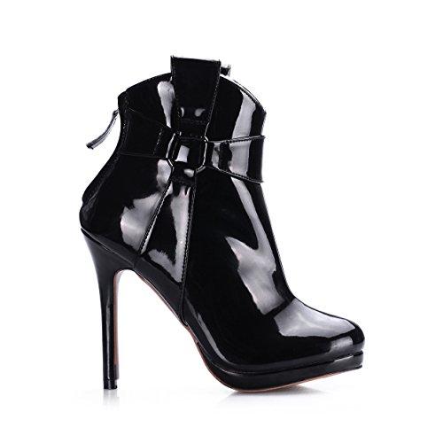 Black en bracelet du chaussures talon chers Démarrage cuir boîtes sens femelle la démarrage réformateur verni haute noir nouveaux de de de mi la XHqHwBzv