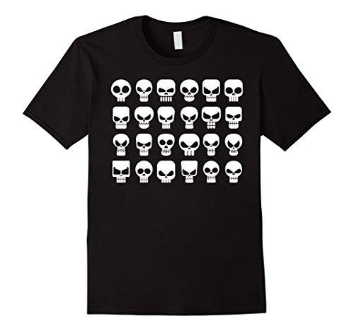 Mens Skeleton SKULLS T-Shirt Be Fierce 24 icons shirt Medium Black