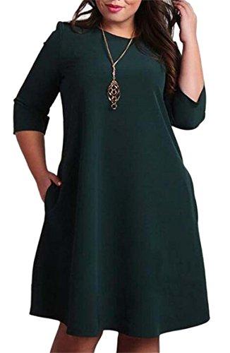 Flare Plus Sleeve 3 Classic Slim Size Green 4 Women's Solid Dress Shirts Jaycargogo T Blackish UEwqxFzR
