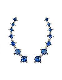 Sweep up Silver Blue Cubic Zirconia Crystal Ear Vine Wrap Pin Ear Cuffs Climber Earrings