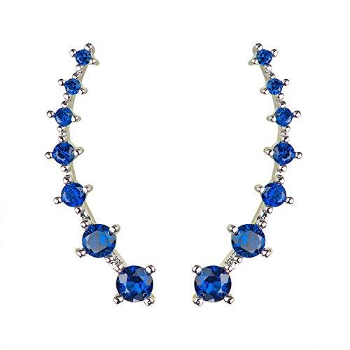 (Chicinside Blue Zircon CZ Crystal Ear Cuffs Climber Ear Wrap Pin Hook Earrings Silver)