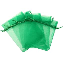 "KUPOO Lot of 50 7"" x 9""Drawstring Organza Pouch Strong Wedding Favor Gift Candy Bag (Green)"