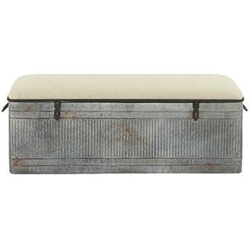 Deco 79 60966 Metal Fabric Storage Bench, ...