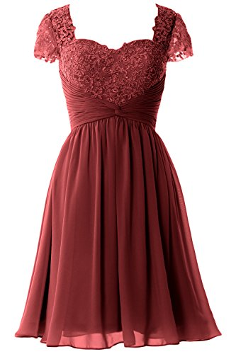 Sleeve Formal Party Lace MACloth Gown Dress of Short Women Bride Cap Burgunderrot Mother q4HwBExZR