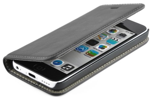 iPhone 5C Case, JAMMYLIZARD Leather [SWISS] Wallet Flip Cover, Black with integrated magnetic closure