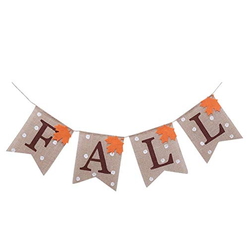 Cheap  6.6 Feet Maple Leaf Fall Burlap Banner Rustic Party Garland Bunting for..