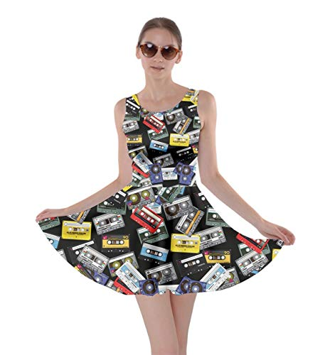CowCow Womens Classic Cassettes Tape Black Stretch Skater Dress - L