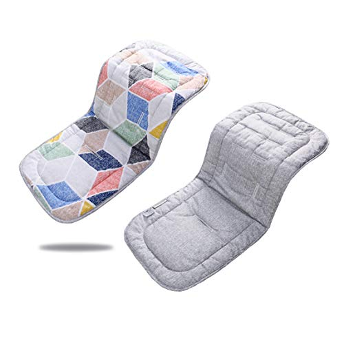 Baby Seat Liner for Stroller,Super Light Baby Car Seat Pad,Breathable Cotton Cushion Double Sides Use 31''x 13'' (Pink Polygon + Gray) from Miracle Baby