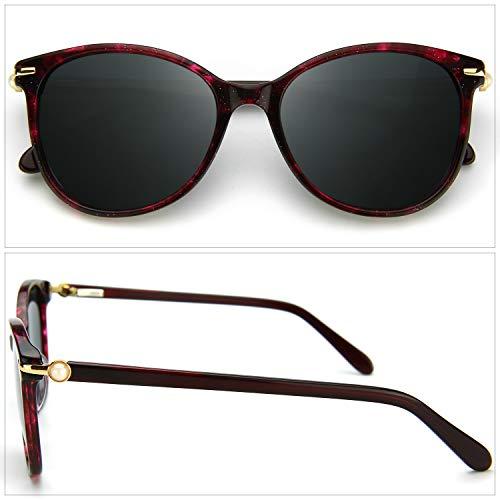 Driving C3 Crystal Lens Women Stylish Gray Polarized Polarized ZENOTTIC Burgundy Sunglasses Frame SYqgwtqEx