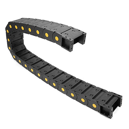 uxcell R55 25mm x 50mm Plastic Cable Wire Carrier Drag Chain 1M Black for CNC