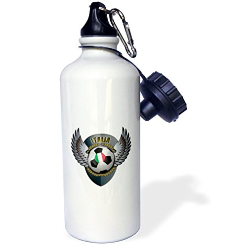 3dRose wb_158039_1 ''Italia soccer ball with crest team football Italy Italian'' Sports Water Bottle, 21 oz, White by 3dRose