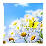 Daisy Flower Blue Sky Butterfly Two Sides Square Zippered High Quality Pillowcase Pillow Cover 18x18 inch