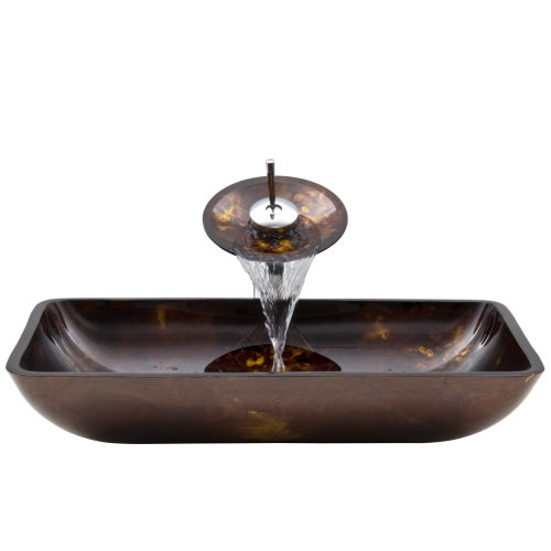 VIGO Rectangular Brown and Gold Fusion Glass Vessel Bathroom Sink and Waterfall Faucet with Pop Up, Chrome