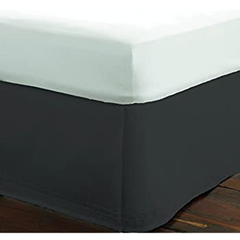 Dust Ruffle Twin//Single Size Solid Charcoal Gray 23 inches Drop Egyptian Cotton Quality Wrinkle /& Fade Resistant Craftique Beddings SRP Bedding Real 350 Thread Count Split Corner Bed Skirt