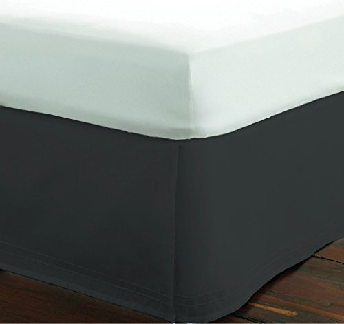 SRP Bedding Real 210 Thread Count Split Corner Bed Skirt / Dust Ruffle Twin Extra Long Size Solid Dark Grey 18