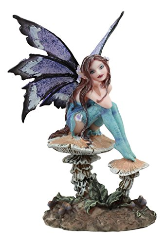 Ebros Amy Brown Forest Willow Nice Fairy Sitting On Wild Giant Mushroom Stool Statue 6